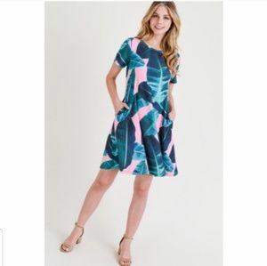 Palm Leaf Flare Dress